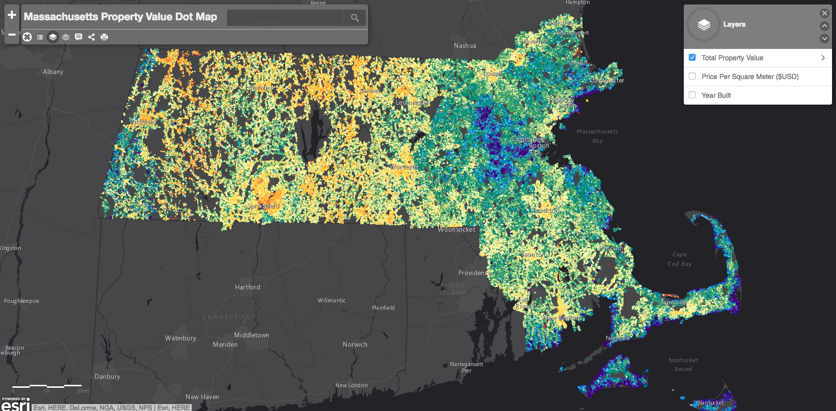 This map shows property values all over Massachusetts  News