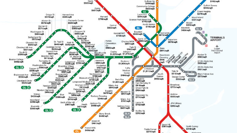 Map shows how much it costs to live near each of Boston\'s MBTA stops ...