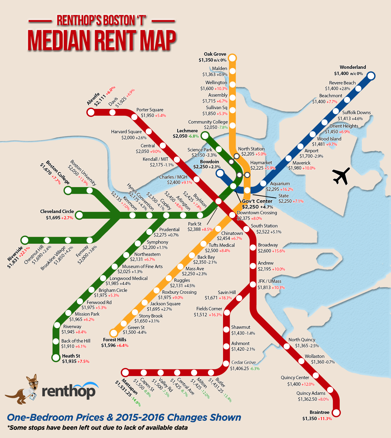 Subway Map Boston Mass.A Map Of The Median One Bedroom Rent Near Each Mbta Stop
